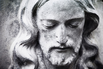 fragment of antique statue Jesus Christ as a symbol of love, faith and religion.