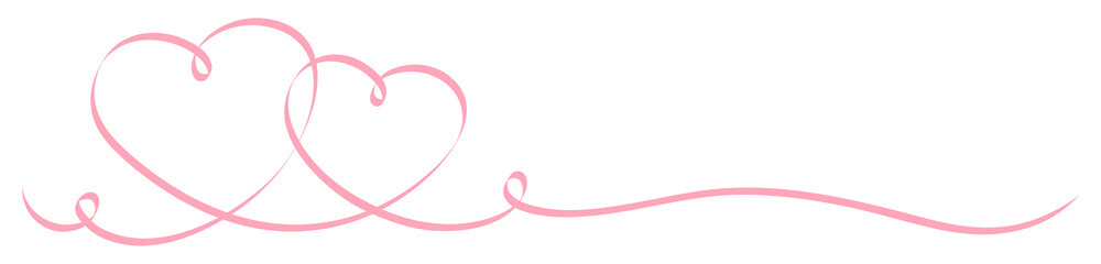2 Connected Rose Calligraphy Hearts Ribbon Banner