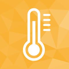 Thermometer warm - Icon mit geometrischem Hintergrund gelb