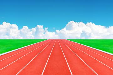 race track in blue sky