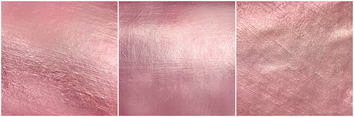 Zestaw tekstury różowego złota metalu. Luksusowe tło miękkiej folii.