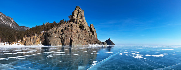 Baikal Lake. Panoramic view from ice on the Belltower Rocks