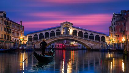 Gondola near Rialto Bridge in Venice, Italy
