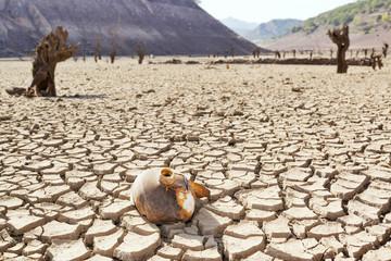 drought in reservoir by climate change , Barrios de Luna , Leon , Spain