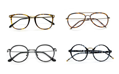 Group of modern fashionable spectacles isolated on white background, Perfect reflection, Glasses