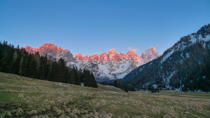 Sunrise over the alpine peaks