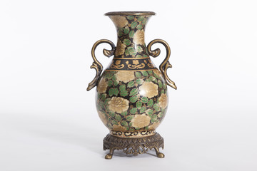 old china ceramic vase on white
