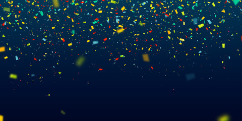 Colorful confetti falling randomly. Abstract dark background with explosion particles. Vector illustration can be used for greeting card, carnival, holiday, celebration.