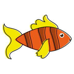 fish yellow orange sideview colorful icon image vector illustration design