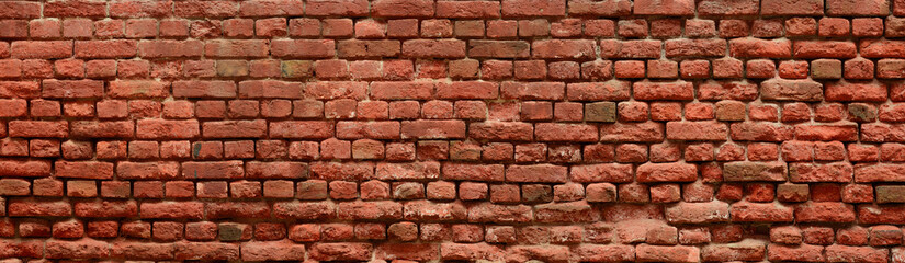 Old Red Brick wall panoramic view.