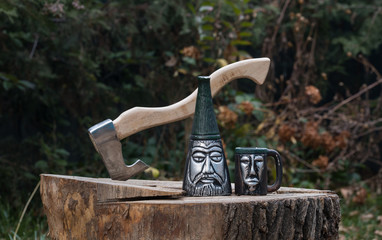 Ancient bottle and mug, Viking dishes