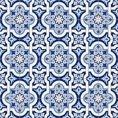 Gorgeous seamless pattern white blue Moroccan, Portuguese tiles, Azulejo, ornaments. Can be used for wallpaper, pattern fills, web page background,surface textures.