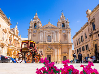 Town square, Saint Poul Cathedral in Mdina village of Malta, Europe