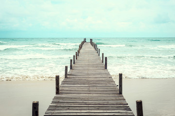 Wooden bridge over the sea. Travel and Vacation. Freedom Concept. Kood island at Trad province, Thailand