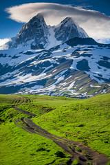 Summer landscape with Ushba mountain snowy peak. Main Caucasian ridge, Zemo Svaneti, Georgia. Green hills and mountain trekking trail in Caucasus foothills.
