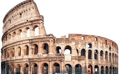 Zamyka up Colosseum odizolowywający na bielu w Rzym, Włochy