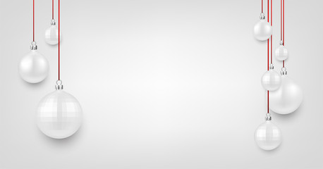 White background with Christmas balls.