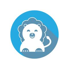 cute lion flat icon