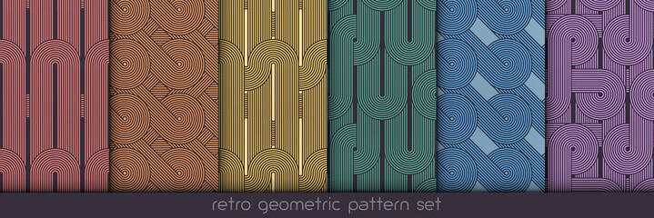 Seamless geometric pattern set. Geometric simple prints. Vector repeating textures. Linear backgrounds. Retro motif graphic textures with 80s graphic motif. Colored repeating backdrop collection.