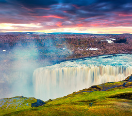 Dramatic view of falling water of the most powerful waterfall in Europe - Dettifoss