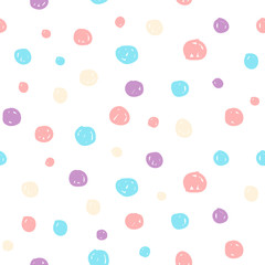 Hand drawn pastel seamless pattern for kids design.