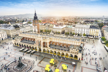 Cloth's Hall and Old City Hall Tower on Market Square, Krakow, Poland