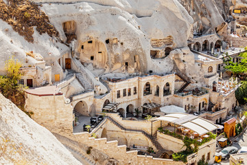 Cappadocia hotels carved from stone rock, cave style