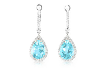 Blue aquamarine turquoise diamond topaz drop pear shaped earrings