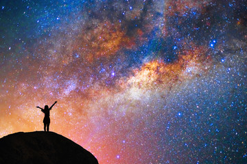 milky way, star, with happy girl on the mountain