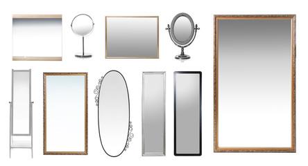 Set of mirrors on white background