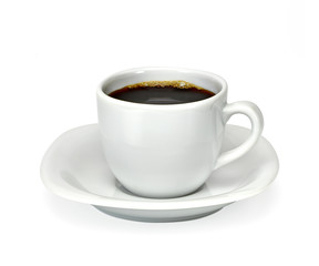 Espresso coffee in white porcelain cup on white background including clipping path