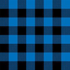 Lumberjack plaid pattern in navy blue and black. Seamless vector