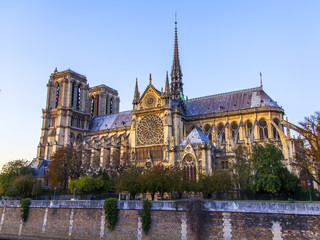 PARIS, FRANCE, on October 27, 2017. View of cathedral Notre Dame de Paris and Seong River Embankment