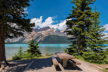 Beautiful Bow lake with picnic area in Banff National Park, Canada.