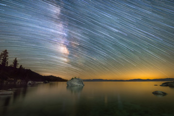Star trails over Bonsai Rock and Lake Tahoe