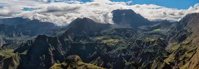 cirque of mafate, highlands of the réunion island , panoramic view from maïdo summit.