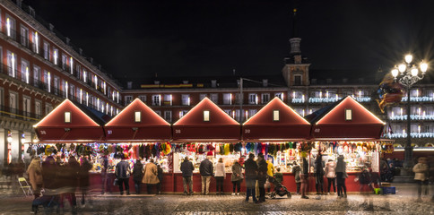 Christmas lights in the Plaza Mayor of the city of Madrid in the year 2017
