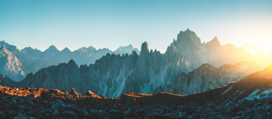Dolomites Alps rocky mountain range at Tre Cime Di Lavaredo