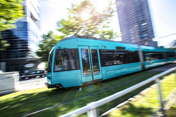 city tram speeding