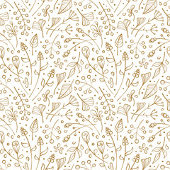 Flowers and herbs seamless pattern