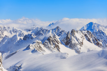 Wintertime view from Mt. Titlis in Switzerland