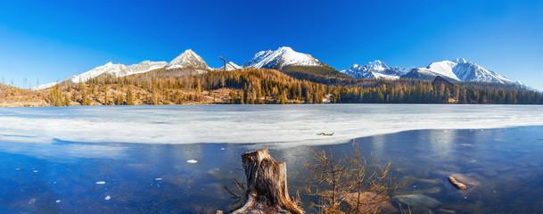 Mountain lake Strbske pleso in National Park High Tatras, Slovakia, Europe