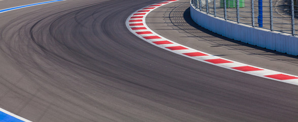 Motor racing track. Race track curve road
