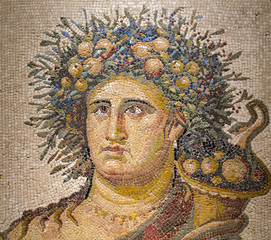 Roman polychrome mosaic with the representation of Genius of the Year