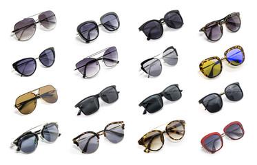 Grupa piękni okulary przeciwsłoneczni odizolowywający na białym tle. Moda kostiumowa.