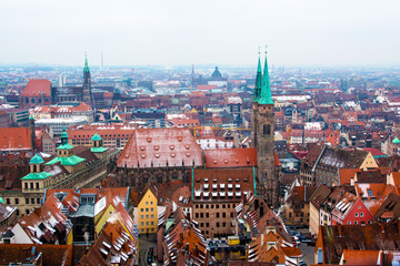 Cityscape of Nuremberg, Germany, in a winter day.