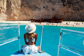 Model Photography in Shipwreck Beach ( Navagio ) in Zakynthos , Greece.