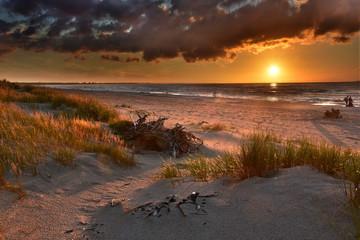 Plaża nad Bałtykiem - Zachód Słońca