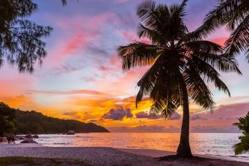 anse Lazio après le coucher du soleil, Praslin, Seychelles