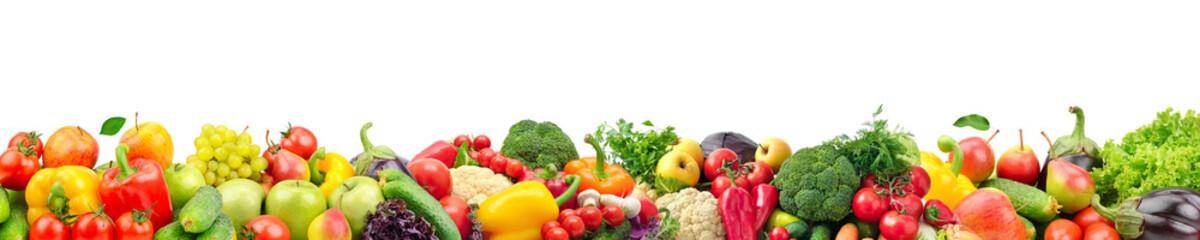 Szeroka szkoła wyższa świezi owoc i warzywo dla układu odizolowywającego na białym tle.
